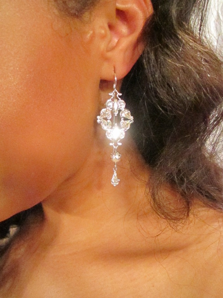 Crystal drop earrings by Thomas Knoell.