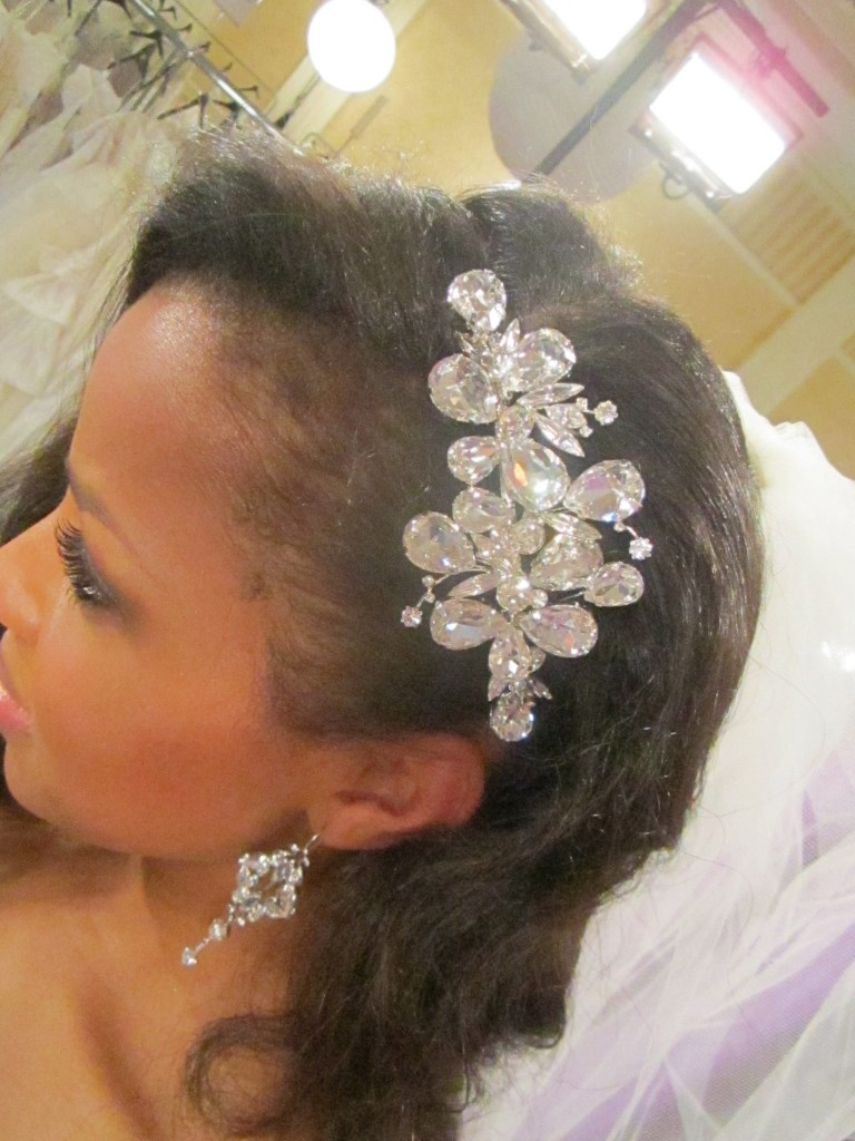 Jewel encrusted headpiece by Malis Henderson.