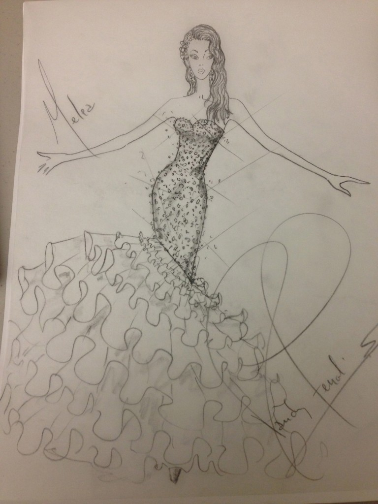 My sketch for Melea's Bridal Blueprint.