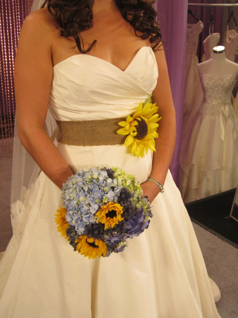 Traci's bouquet included sunflowers like the ones I attached to her burlap sash.