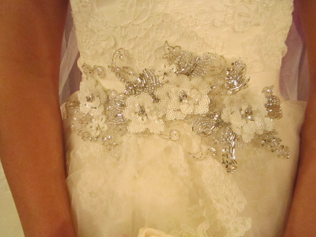 Beaded and sequin floral detailing.